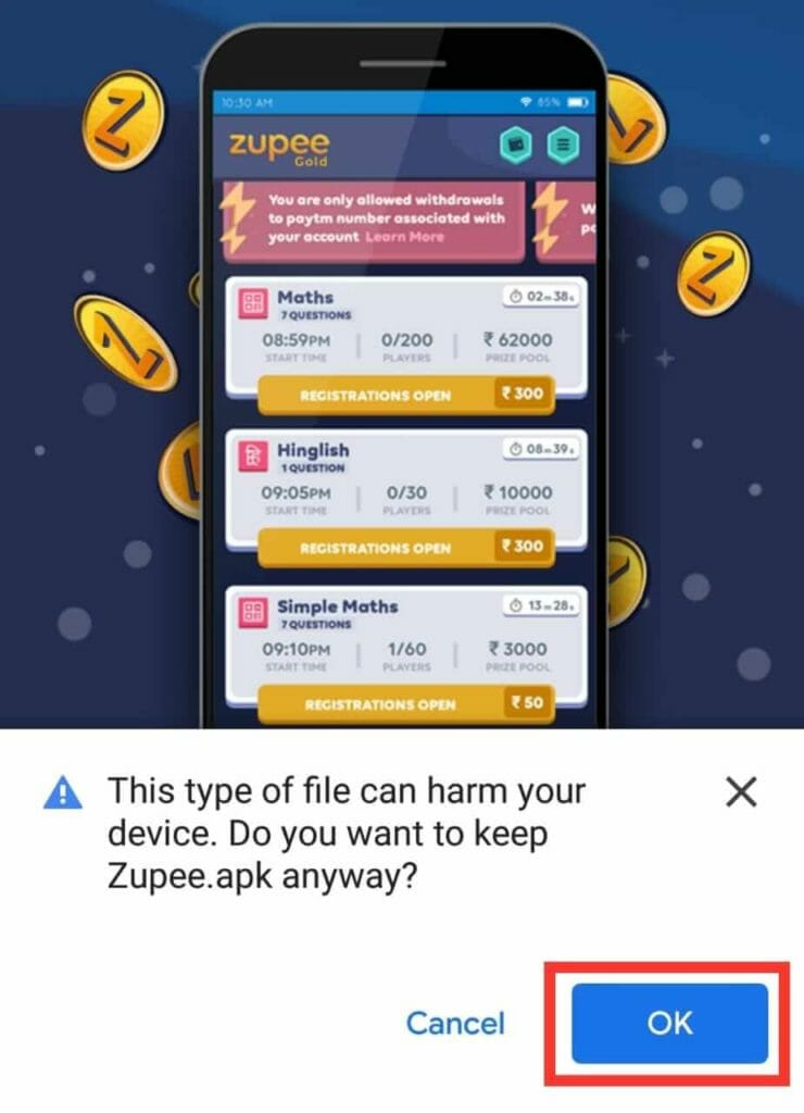 Zupee Gold Payment Proof